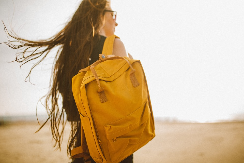 yellow backpack bag people girl