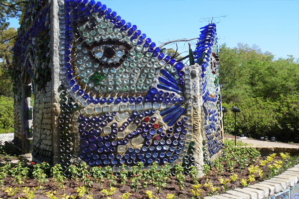recycled bottles in a garden landscape